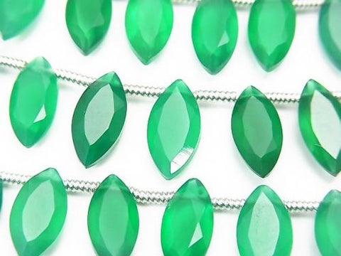 1strand $16.99! High Quality Green Onyx AAA Marquise Faceted 12x6mm 1strand (aprx.5inch / 13cm)