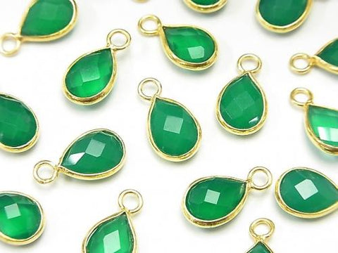 High Quality Green Onyx AAA Bezel Setting Faceted Pear Shape 10x7mm 18KGP 2pcs $4.79