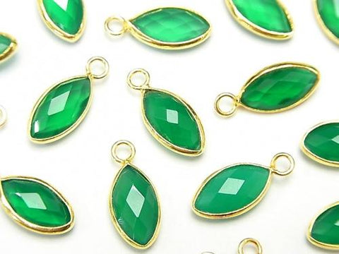 High Quality Green Onyx AAA Bezel Setting Faceted Marquise 13x7mm 18KGP 2pcs $5.79