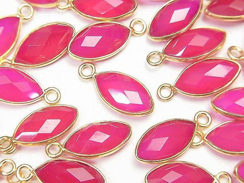 High Quality Fuchsia Pink Chalcedony AAA Bezel Setting Faceted Marquise 13x7mm 18KGP 4pcs $5.79