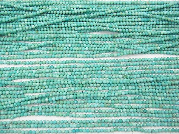 High Quality! Arizona Turquoise AA ++ Faceted Round 2mm half or 1strand (aprx.13inch / 31cm)