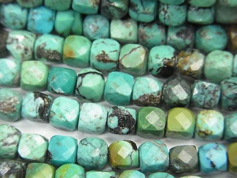 High Quality!  Turquoise AA++ Cube Shape 4x4x4mm half or 1strand (aprx.15inch/36cm)