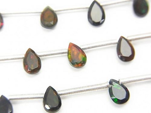 1strand $24.99! High Quality Black Opal AAA Pear shape Faceted 6x4mm 1strand (8pcs)