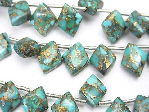 Blue Copper Turquoise AAA Diamond 10x8mm half or 1strand (22pcs)