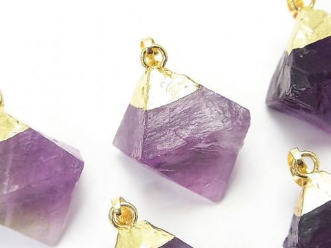 3pcs $9.79! Purple Fluorite 8Faceted Body Pendant Gold Color