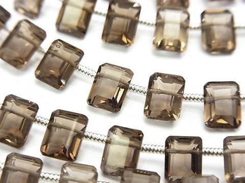 1strand $15.99! High Quality Smoky Crystal Quartz AAA Rectangle Faceted 8x6x4mm 1strand (18pcs)