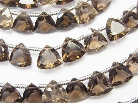 1strand $16.99! High Quality Smoky Crystal Quartz AAA Triangle  Faceted 8x6x4mm 1strand (18pcs )