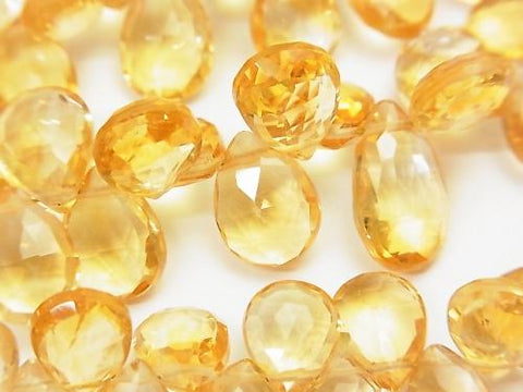 High Quality Citrine AAA Pear shape  Faceted Briolette  half or 1strand (aprx.7inch/18cm)