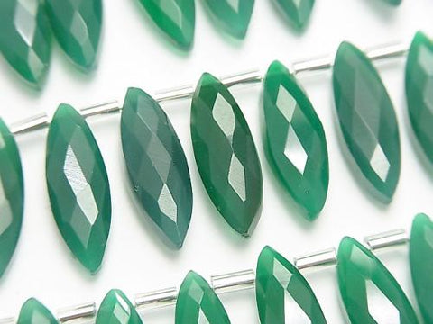 1strand $19.99! High Quality Green Onyx AAA Marquise Faceted Briolette 20x6mm 1strand (aprx.4inch / 10cm)