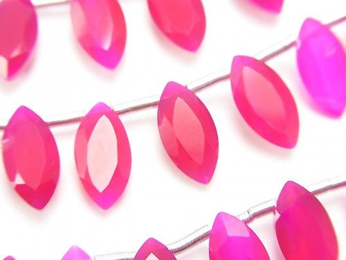 1strand $16.99! High Quality Fuchsia Pink Chalcedony AAA Marquise Faceted 12x6mm 1strand (18pcs).