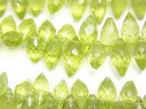 High Quality Peridot AA++ Marquise Rice  Faceted Briolette  half or 1strand (aprx.7inch/18cm)