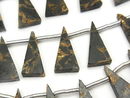 1strand $24.99! Copper Obsidian AAA Flat  Flat Triangle 16x8mm 1strand (8pcs )