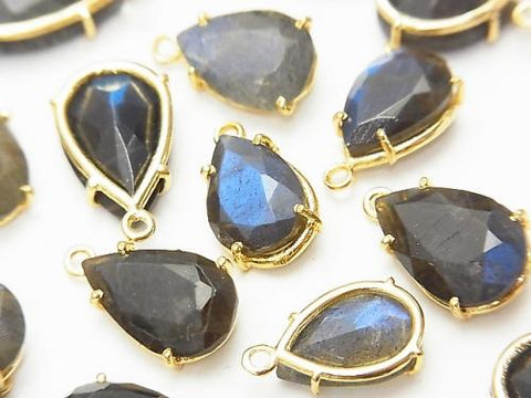 High Quality Blue Labradorite AAA- Bezel Setting Pear shape Faceted Mix Size 18KGP 5pcs $19.99!