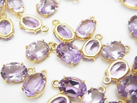 High Quality Amethyst AAA Bezel Setting Oval Faceted 8x6mm 18KGP  3pcs $9.79!