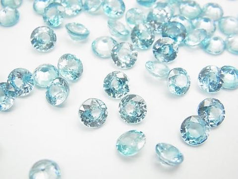 High Quality Blue Zircon AAA Undrilled Round Faceted 6x6mm 1pc $12.99!