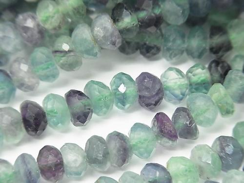 High Quality! 1strand $9.79! Multicolor Fluorite AA ++ Faceted Button Roundel 6x6x3mm 1strand (aprx.15inch / 38cm)