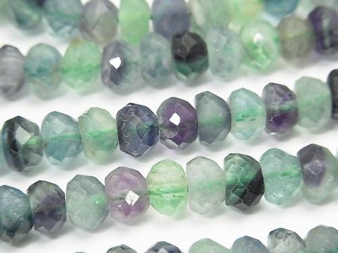 High Quality! 1strand $11.79! Multicolor Fluorite AA ++ Faceted Button Roundel 7x7x4mm 1strand (aprx.15inch / 38cm)