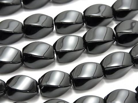 1strand $8.79! Onyx  Rice 4Faceted Faceted Twist 12x10x10mm 1strand (aprx.15inch/36cm)