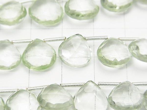 1strand $19.99High Quality Green Amethyst AAA Chestnut Faceted Briolette 1strand (aprx.7inch/18cm)