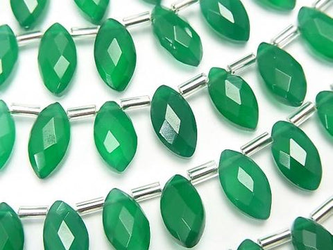1strand $13.99! High Quality Green Onyx AAA Faceted Marquise 12x6mm 1strand (aprx.4inch / 9cm)