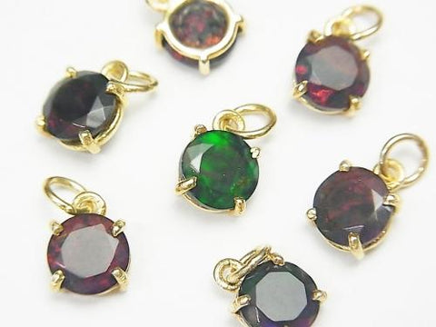 High Quality Black Opal AAA Bezel Setting Round Faceted 7x7mm 18KGP 2pcs $23.99!
