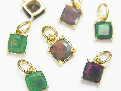 High Quality Black Opal AAA Bezel Setting Square Faceted 18KGP 2pcs $13.99