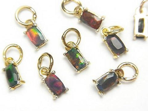 High Quality Black Opal AAA Bezel Setting Rectangle Faceted 5x3mm 18KGP 4pcs $16.99!