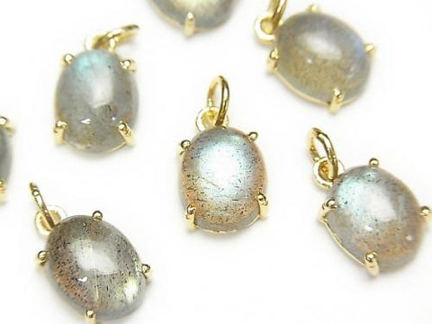High Quality Labradorite AAA Bezel Setting Oval 10x8mm 18KGP  2pcs $13.99!
