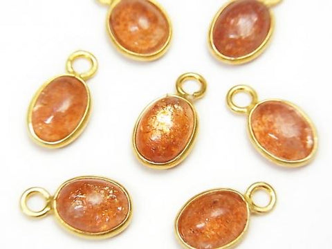 High Quality Sun Stone AAA Bezel Setting Oval 9x7mm [One Side ] 18KGP 4pcs $12.99!