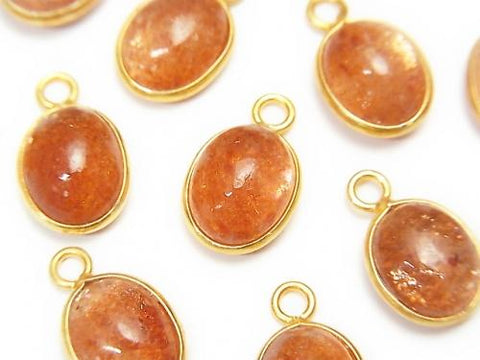 High Quality Sun Stone AAA Bezel Setting Oval 11x9mm [One Side ] 18KGP 3pcs $17.99!