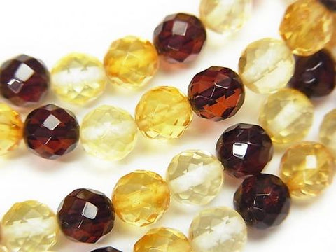 1strand $19.99! Baltic Amber 64 Faceted Round 6mm Multicolor 1strand (Bracelet)
