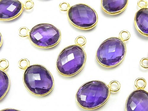 High Quality Amethyst AAA- Bezel Setting Faceted Oval 10x8mm [One Side ] 18KGP 4pcs $7.79!