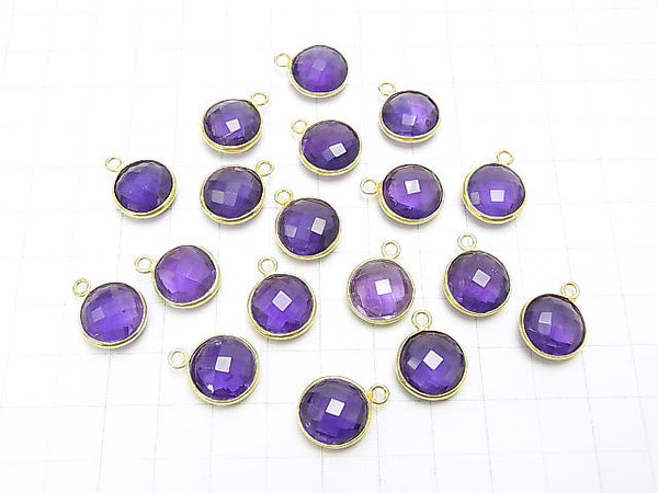 High Quality Amethyst AAA- Bezel Setting Faceted Coin 12x12mm [One Side ] 18KGP 2pcs $7.79!