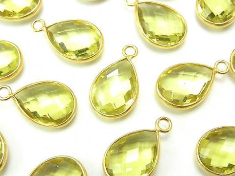 High Quality Lemon Quartz AAA Bezel Setting Faceted Pear Shape 14x10mm [One Side ] 18KGP 2pcs $7.79!