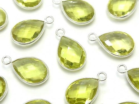 High Quality Lemon Quartz AAA Bezel Setting Faceted Pear Shape 14x10mm [One Side ] Silver925  2pcs $7.79!
