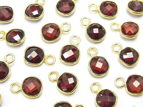 High Quality Garnet AAA Bezel Setting Square -Faceted Coin 7x7mm [One Side ] 18KGP 4pcs $7.79!