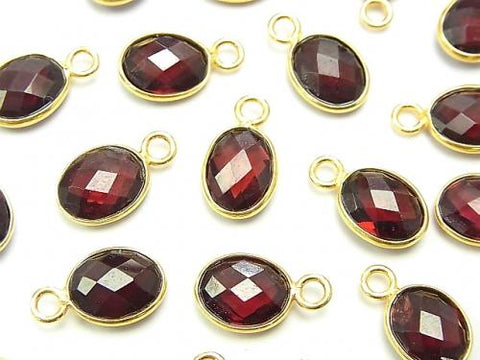 High Quality Garnet AAA Bezel Setting Faceted Oval 9x8mm [One Side ] 18KGP 2pcs $5.79!