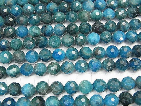 High Quality! Blue Apatite AA 128Faceted Round 9mm half or 1strand (aprx.15inch / 37cm)