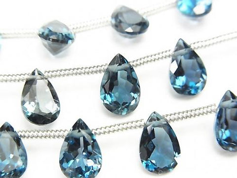 1strand $89.99! High Quality London Blue Topaz AAA Pear shape Faceted 9x6mm 1strand (8pcs)