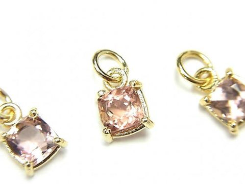 High Quality Pink Tourmaline AAA Bezel Setting Square Faceted 6x6mm 1pc $13.99!