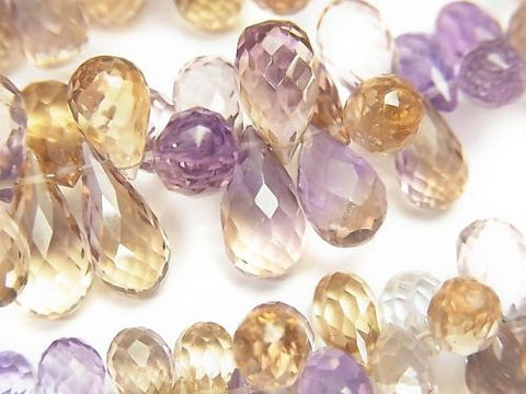 High Quality Amethyst xCitrine AAA Drop  Faceted Briolette  half or 1strand (aprx.7inch/18cm)