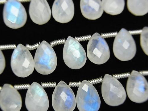 Rainbow Moon Stone AA ++ Pear shape Faceted Briolette 9x6mm half or 1strand (aprx.11inch / 27cm)