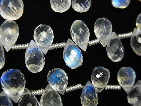 Top Quality Rainbow Moon Stone AAA ++ Drop Faceted Briolette half or 1strand (aprx.7inch / 17cm)