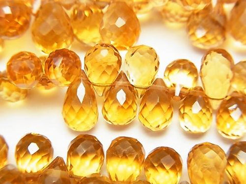 High Quality Brandy Citrine AAA Drop Faceted Briolette 1/4 or strand (aprx.7inch / 18cm)