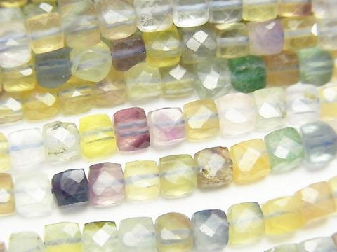 High Quality! 1strand $12.99! Multicolor Fluorite AA Cube Shape 4x4x4mm 1strand (aprx.15inch / 37cm)