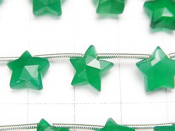 1strand $19.99! High Quality Green Onyx AAA Faceted Star 10x10mm 1strand (8pcs).