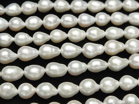 1strand $15.99! Fresh Water Pearl AA Baroque -Drop 7-9mm Off White 1strand (aprx.15inch / 36cm)
