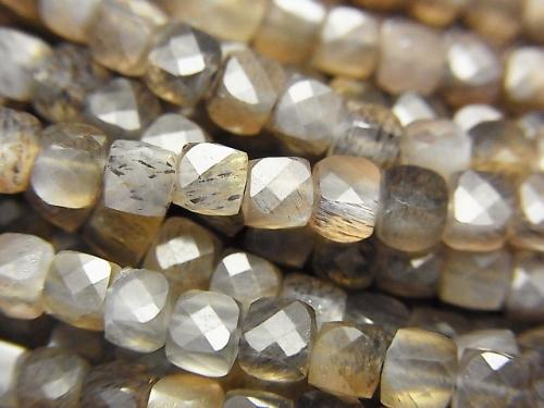 High Quality! Silver & Golden Shine Gray Moon Stone AAA Cube Shape 3.5x3.5x3.5mm half or 1strand (aprx.15inch / 36cm)