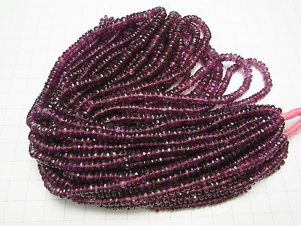 High Quality Rhodolite Garnet AAA Faceted Button Roundel 1/4 or strand (aprx.17inch / 42cm)