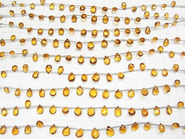 1strand $24.99! High Quality Brandy Citrine AAA Pear shape Faceted Briolette 1strand (15pcs).